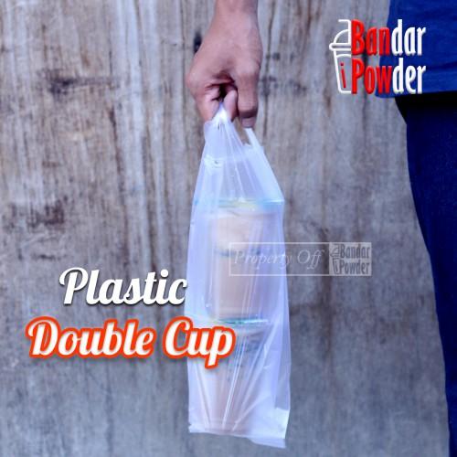 Plastik Double Cup Take Away Putih Bandar Powder 1 - Bandar Powder